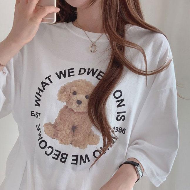 ワンちゃんオーバーフィット半袖Tシャツ