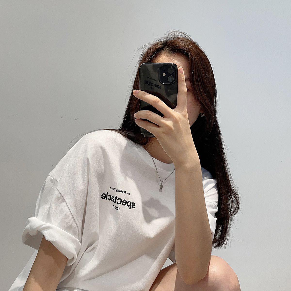 英文プリントオーバーフィット半袖Tシャツ