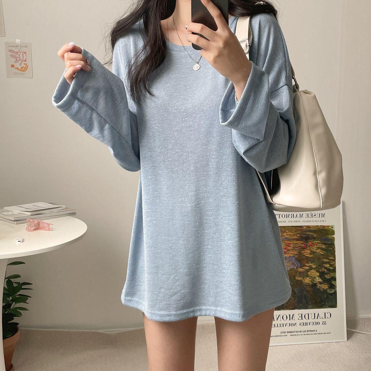 サマー長袖ラウンドTシャツ5色