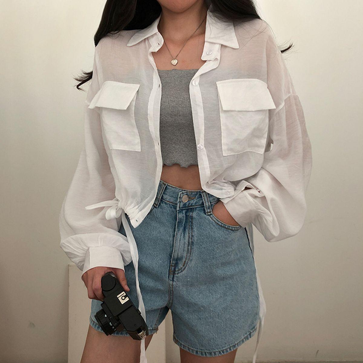 シースルーストリングクロップシャツジャケット