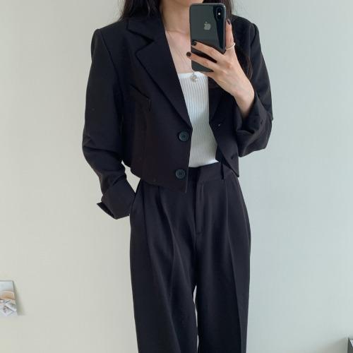 [SET]クロップショートジャケット+ピンタックスラックス