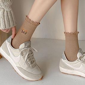 フラワー刺繡靴下