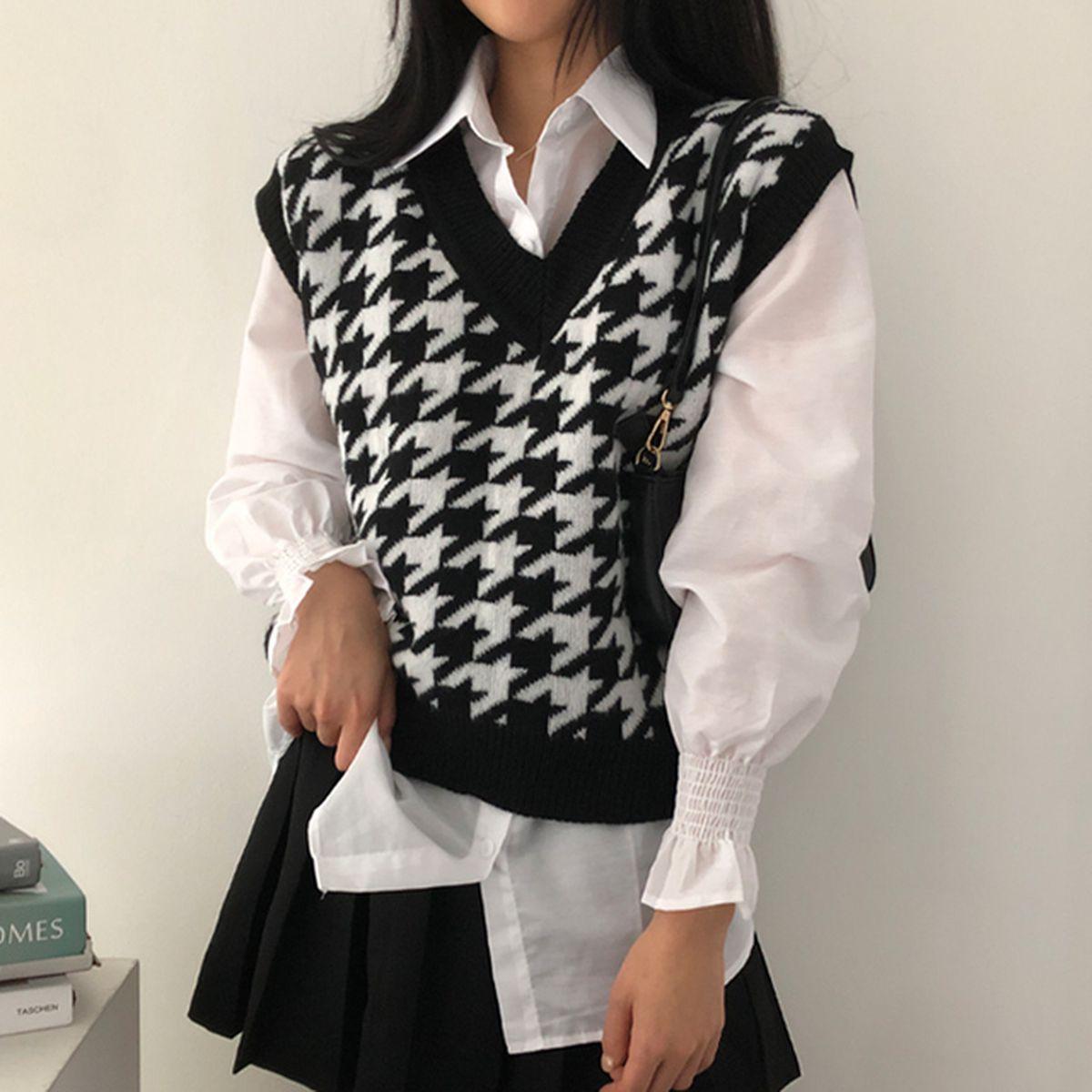 [SET]ニットベスト+長袖シャツ