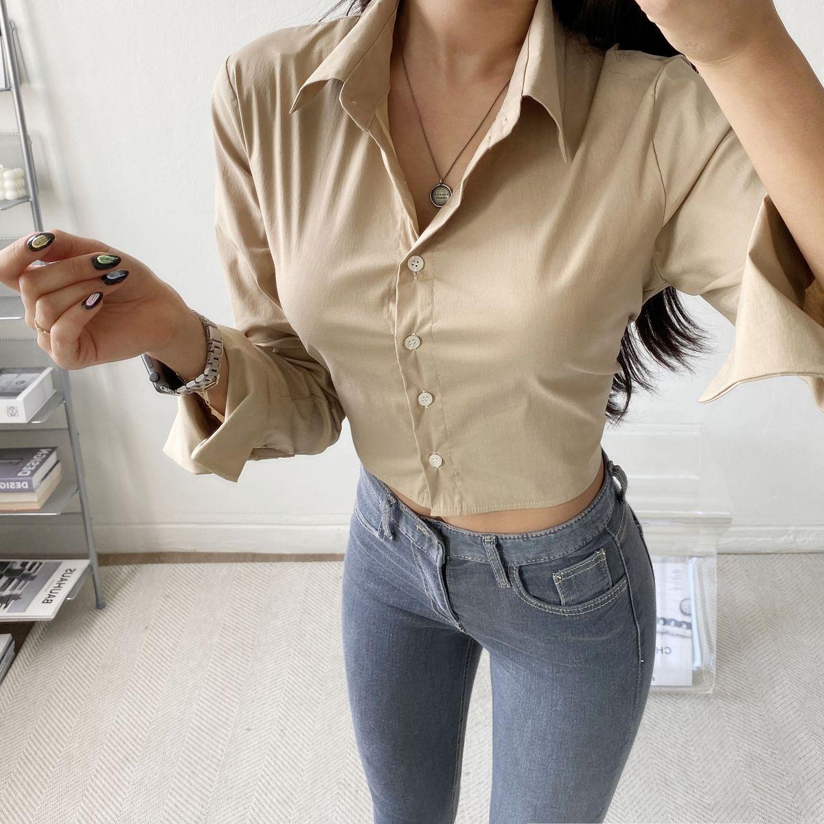 バックバンディングクロップシャツ5色
