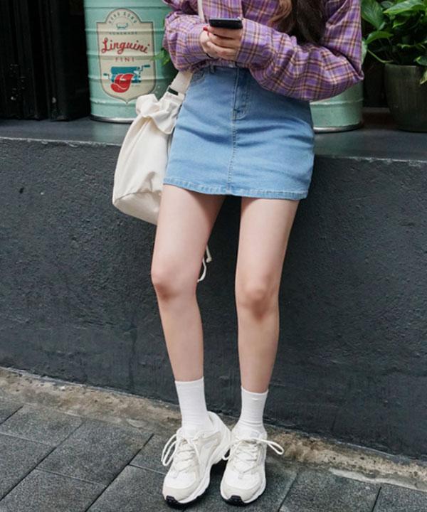 (再補貨)SLIM JEANS_彈力牛仔短褲裙(SN)