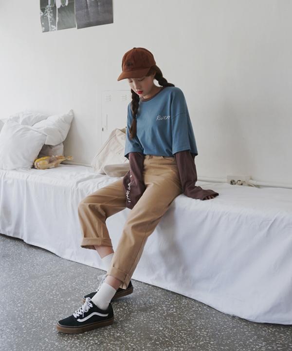 摩登純色高腰寬管休閒褲