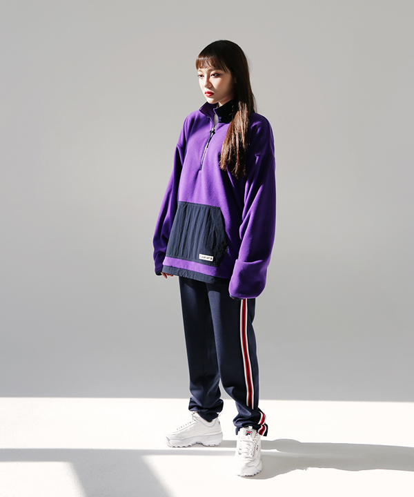 [휠라]< 온라인단독>FILA FLEECE HALF ZIPUP_DARK VIOLET