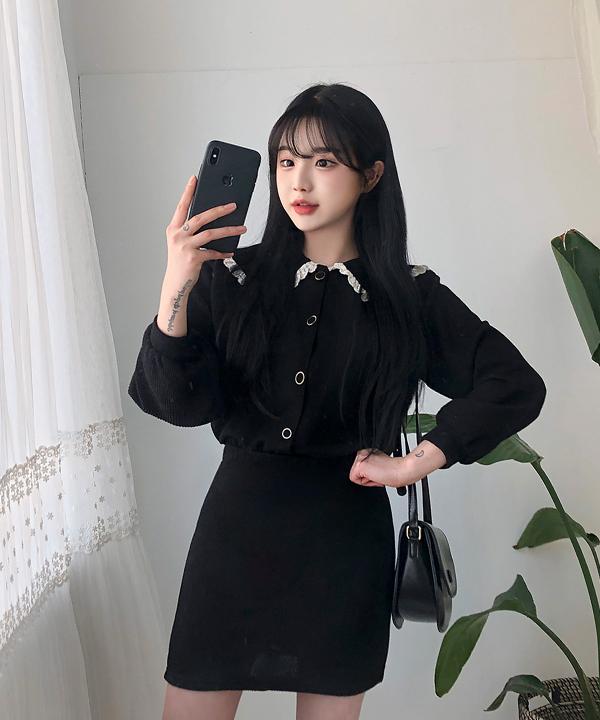 레이스카라가디건+스커트SET