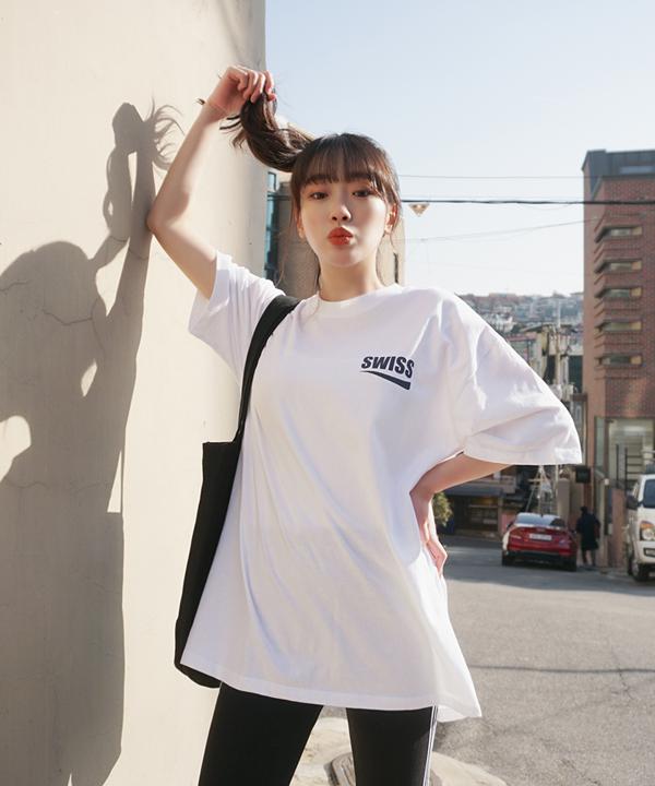 SWISS簡約百搭寬鬆T恤