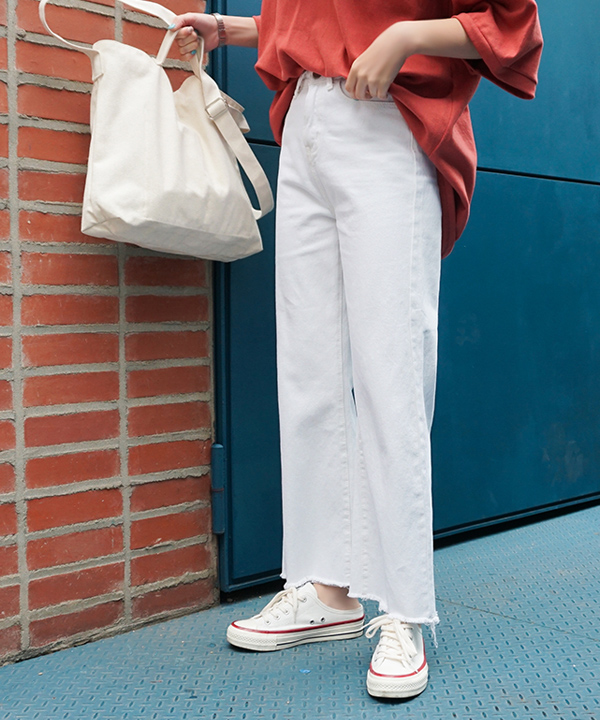 抽須褲腳個性純色寬褲