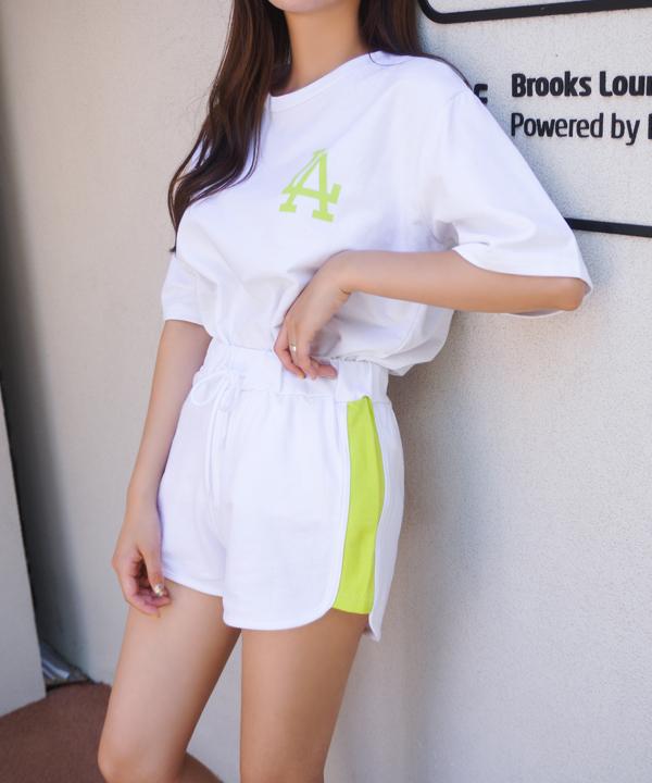 LA熒光英字短袖T恤+抽繩拼色短褲