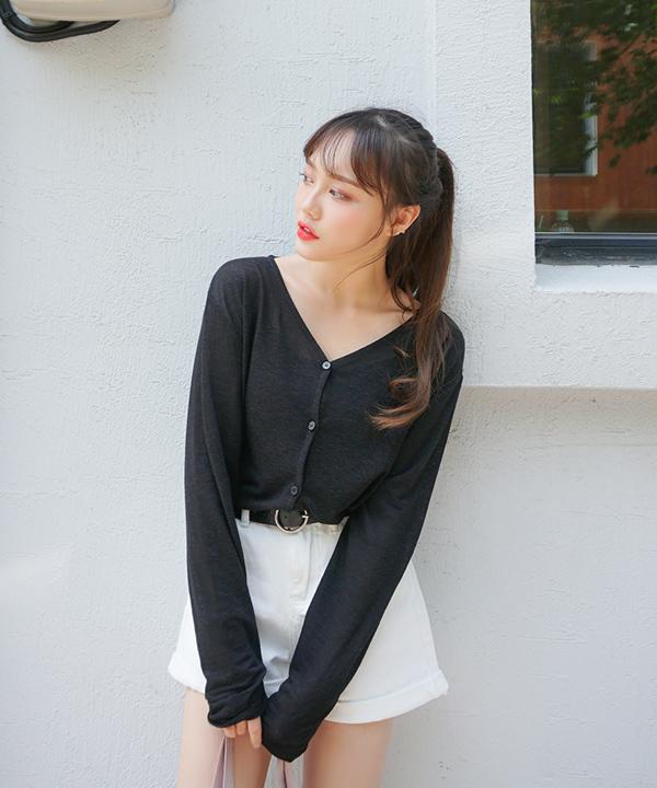 (亞麻)V領輕薄長袖針織外套(G)
