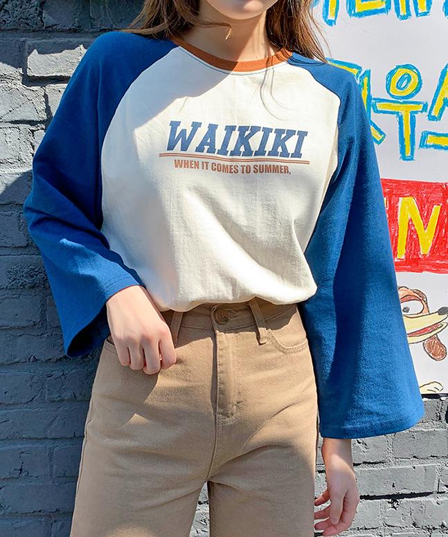 WAIKIKI配色長袖Tシャツ(T)