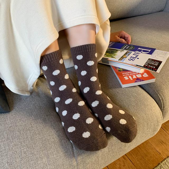 ドットウール靴下