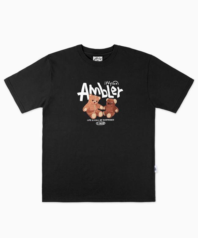 [엠블러]AMBLER  X-Bear 오버핏 자수 반팔티셔츠 AS728[B]