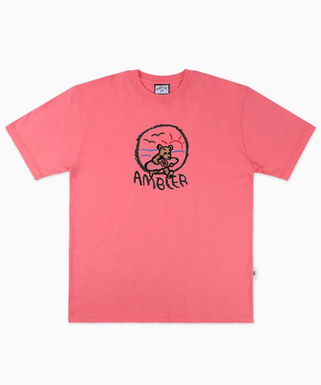 [AMBLER]Summer Bear オーバーフィットサンセット刺繍Tシャツ AS712