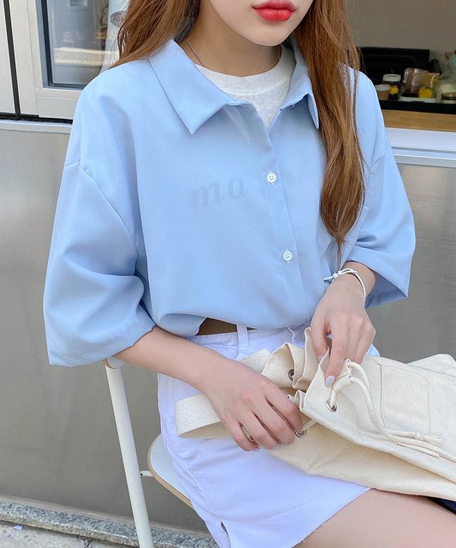 飄逸感寬鬆短袖襯衫