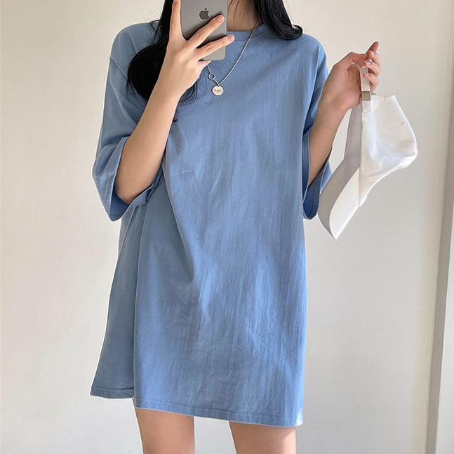 純色俐落長版寬鬆T恤