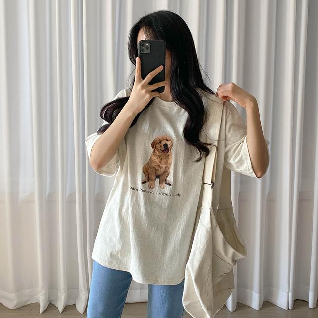かわいいプリントポイントTシャツ
