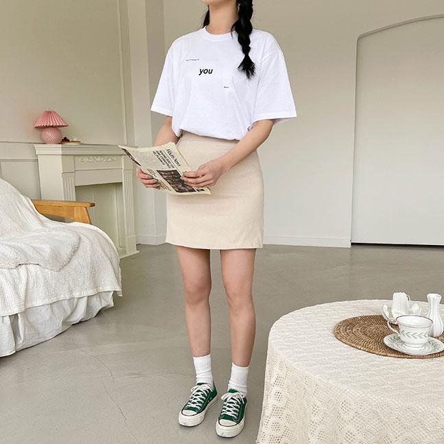 YOU英文レタリング半袖Tシャツ