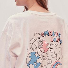 [AMBLER]男女共有オーバーフィット半袖Tシャツ AS815