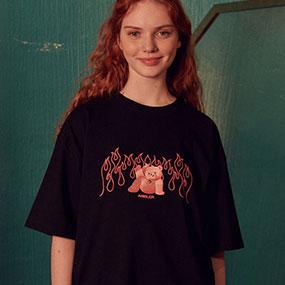 [AMBLER]男女共有オーバーフィット半袖Tシャツ AS825