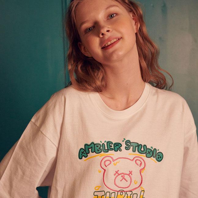 [AMBLER]男女共用オーバーフィット半袖TシャツAS827
