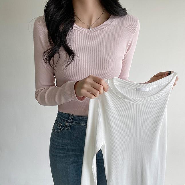 [1+1企画]ラウンドネックリブTシャツ