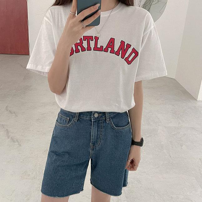 PORTLANDプリント半袖Tシャツ
