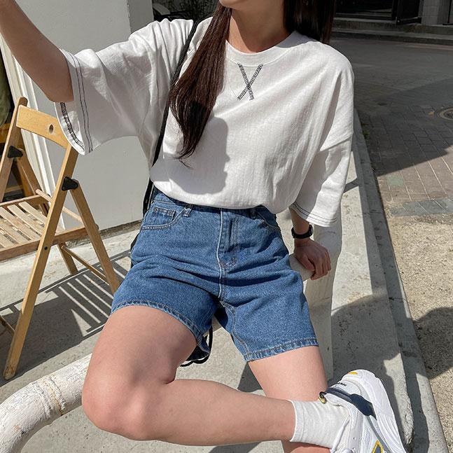 ステッチポイント半袖Tシャツ