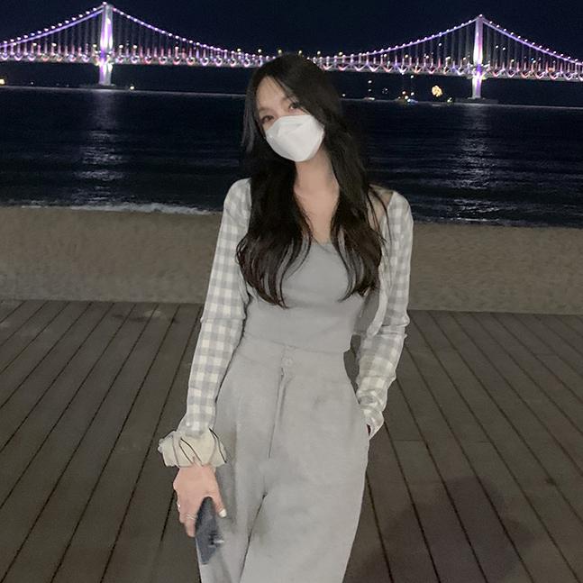 チェック柄ボレロカーディガン+キャミソールセット