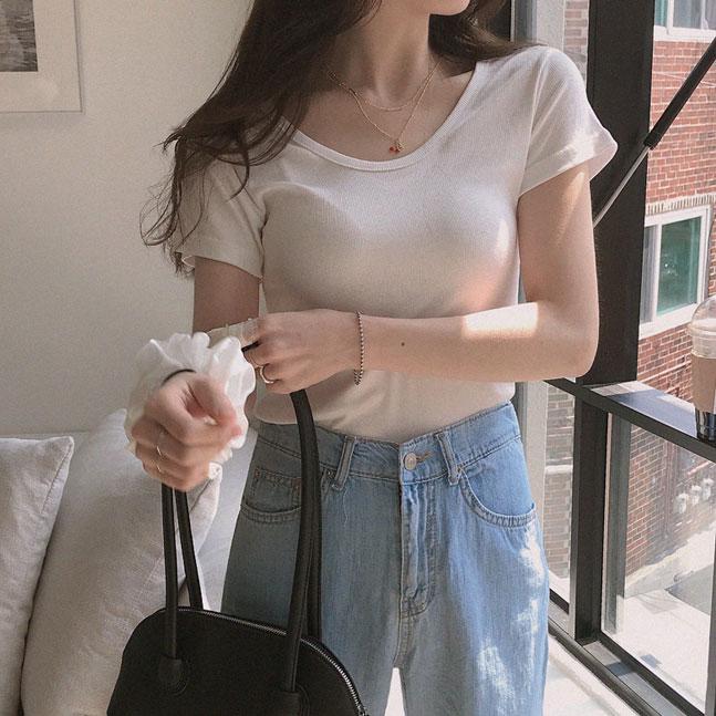 ラウンドネックリブ半袖Tシャツ5色