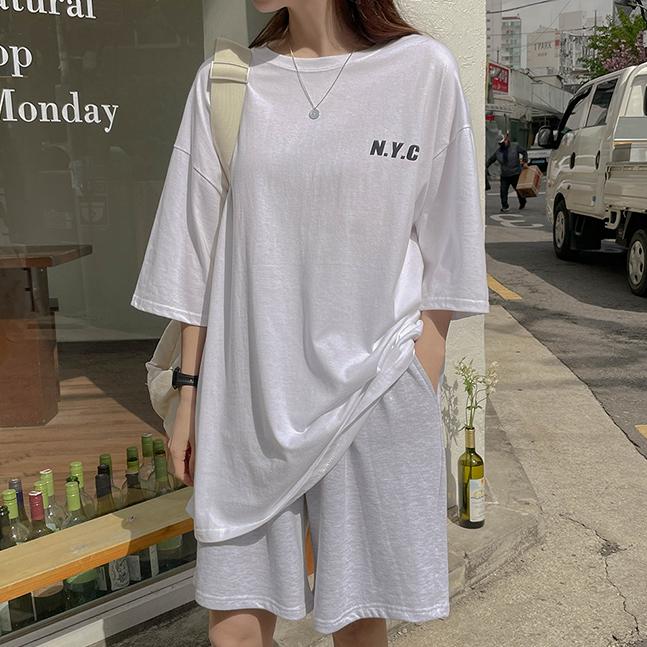 男女兼用NYCプリント半袖Tシャツ