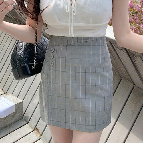 チェックボタンラップスカート
