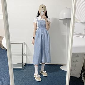 앨리스 뒷밴딩 멜빵원피스