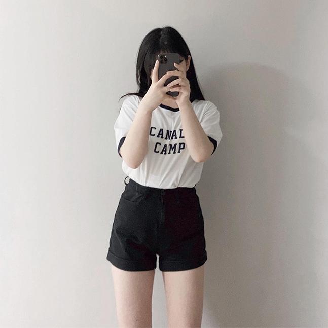 캠프 포인트배색 레터링 반팔티