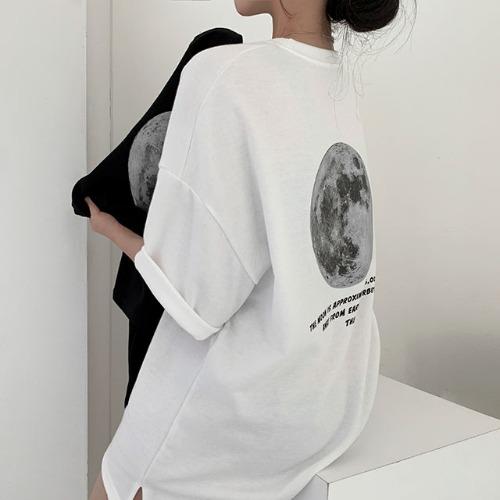 バックプリントスリットルーズフィット半袖Tシャツ
