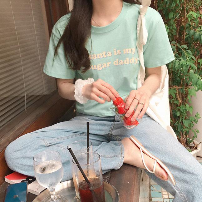 (4color) 대디 크롭 티셔츠