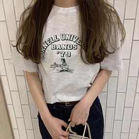 レトロ英文プリント半袖Tシャツ