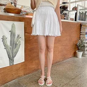 Aラインプリーツミニゴムスカート