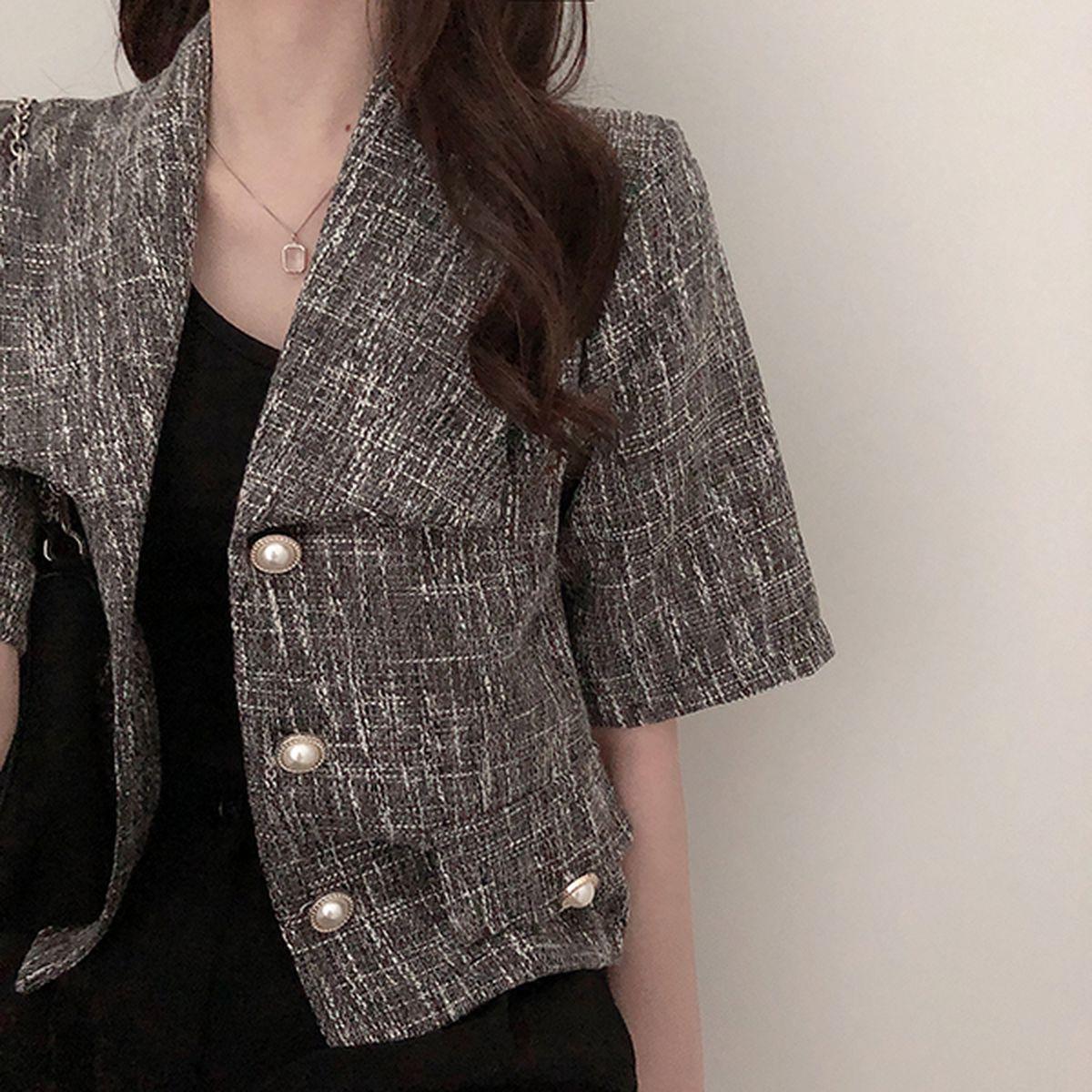 真珠ポケットツイード半袖ジャケット