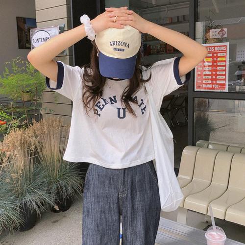 配色英文半袖Tシャツ