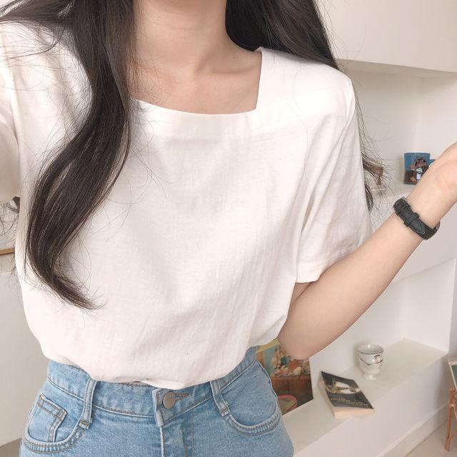 ベーシックスクエアコットン半袖Tシャツ
