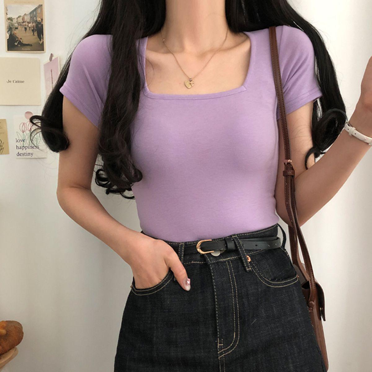スクエアネック半袖Tシャツ
