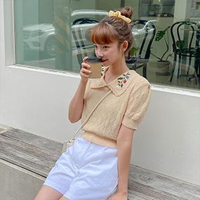 フローラル刺繍パンチング半袖ニット