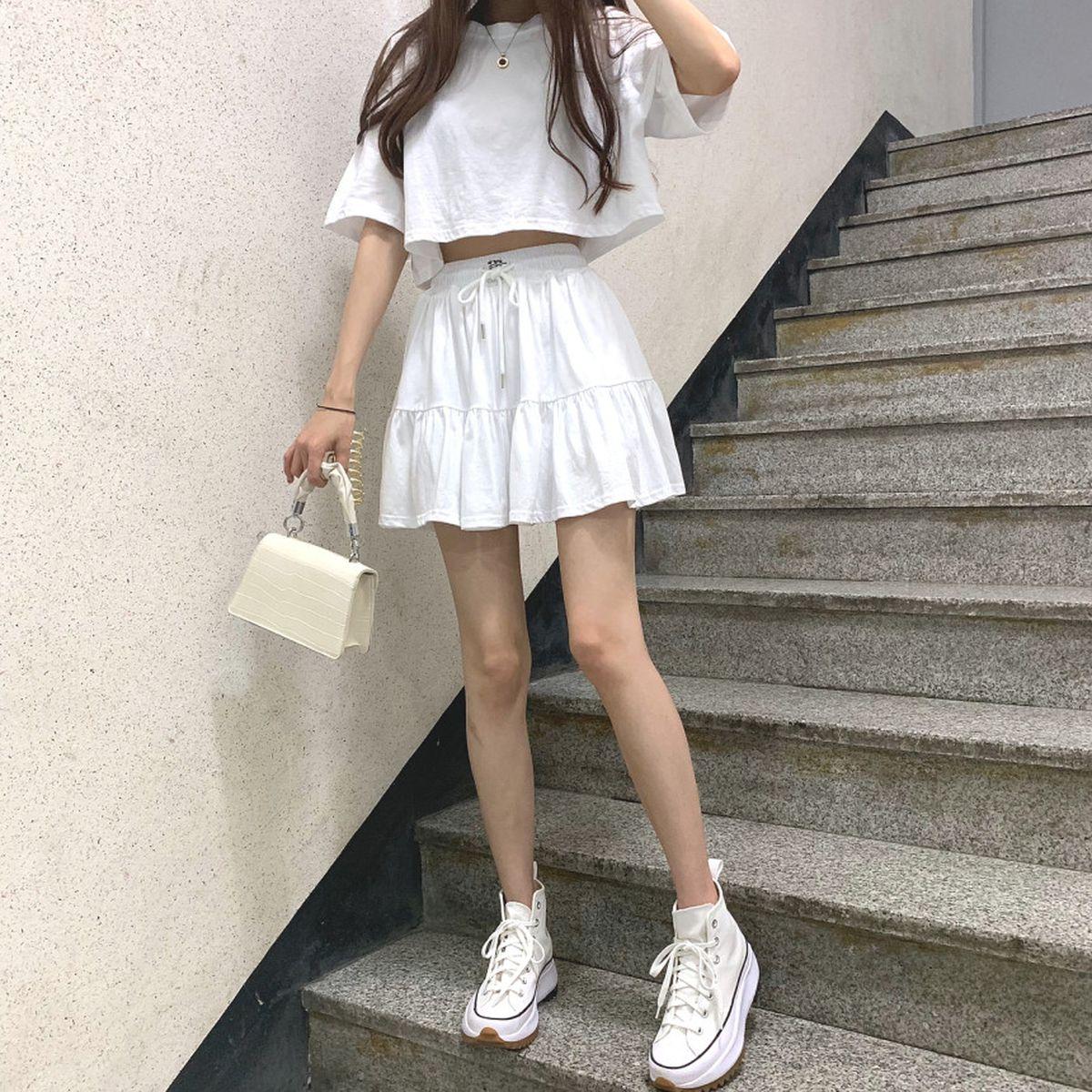 [SET]クロップ半袖Tシャツ+フリルゴムスカパン