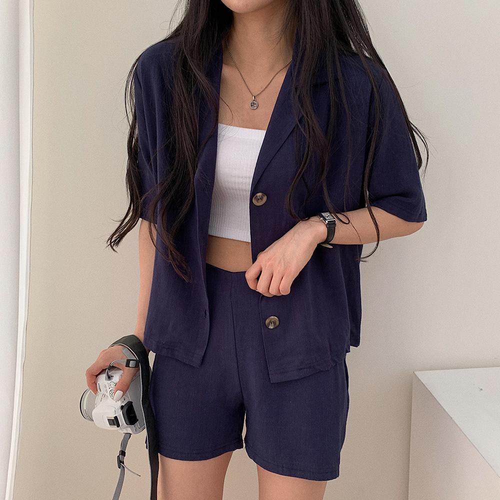 [SET]リネン半袖ジャケット+ショートパンツ