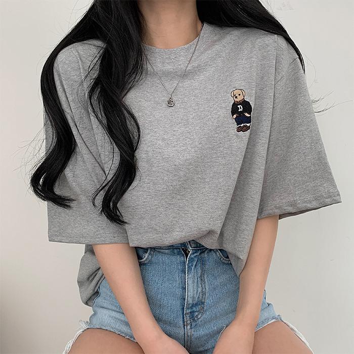 ベア刺繍ルーズフィット半袖Tシャツ