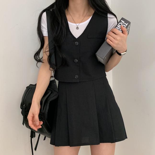 [SET購入可能]クロップベスト+プリーツスカートセット