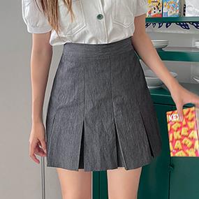 プリーツ後ろゴムミニスカート